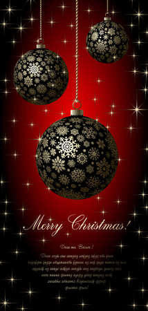 spangles: Merry Christmas card with golden ball and space for text.