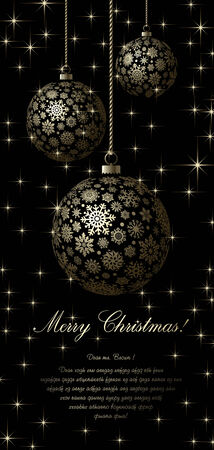 spangle: Merry Christmas card with golden ball and space for text.