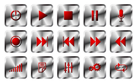Square metal audio buttons set. Stock Vector - 8466382