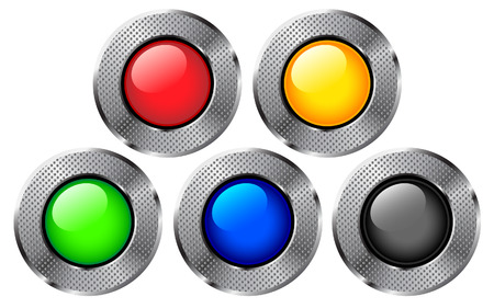 Colorful round metal buttons set. Vector
