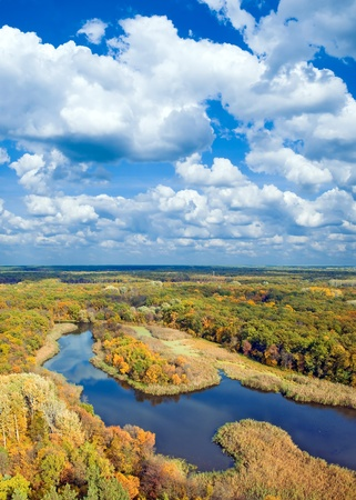 Autumnal forest, river and sky (view from above). Stock Photo - 8505279