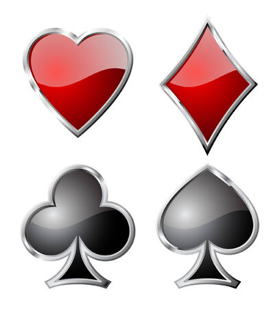 Playing card set symbols isolated on white background. Vector