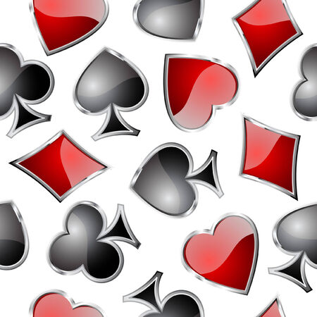 Playing card symbols seamless pattern - background for continuous replicate. See   more seamless patterns in my portfolio. Vector