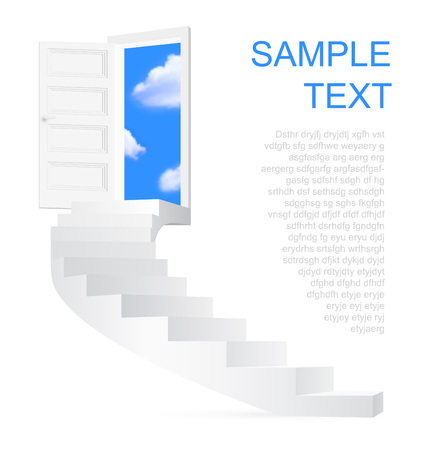 Stairs to sky with space for text. Vector