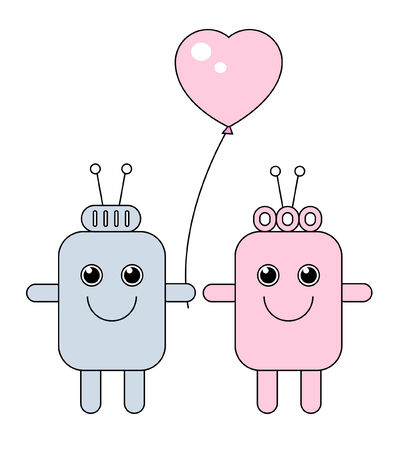 funny robot: Two robots as boy and girl.
