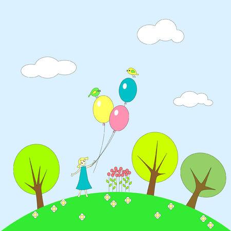 plot: Little girl with balloons on grassy plot.