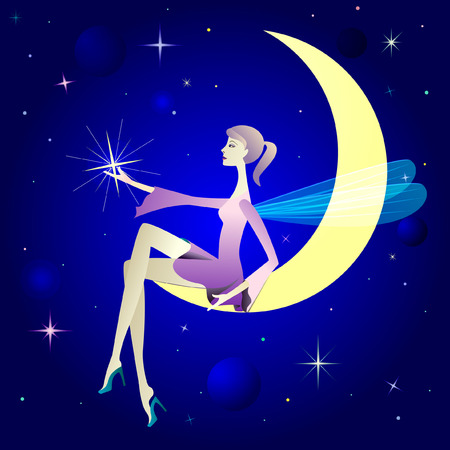 dreaming girl: Pretty girl as winged elf sit on moon.