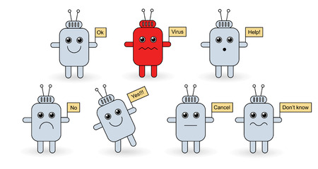 talker: Funny androids icon set isolated on white background. Illustration