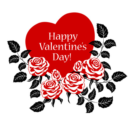 red rose black background: Happy Valentines Day card with red roses and heart.