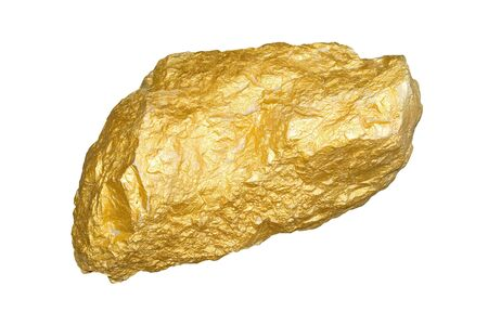 nugget: Gold nugget isolated on white background.