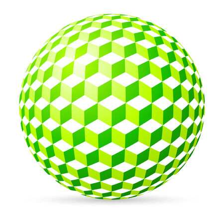 tridimensional: Green spherical cubes on white background. Illustration
