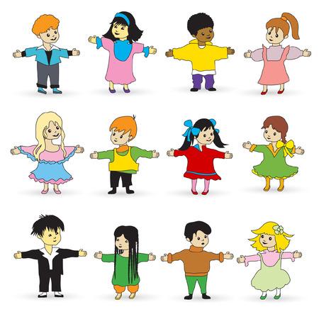 nationalities: Various kids set isolated on white background. Illustration