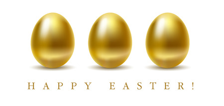 gold egg: Happy easter greetings card with golden eggs on white background. Vettoriali