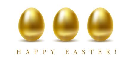 huevos de oro: Tarjeta de saludos de Pascua feliz con huevos de oro sobre fondo blanco. Vectores