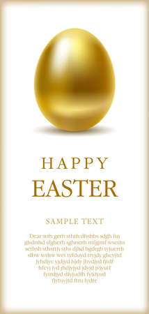 smoothed: Happy easter greetings card with golden egg and space for text.