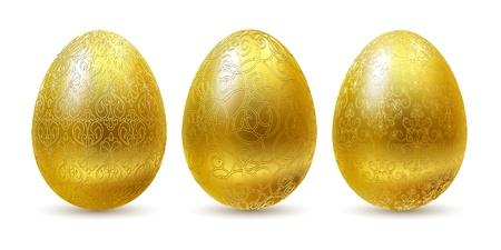 uova d oro: Uova d'oro insieme isolato su sfondo bianco.