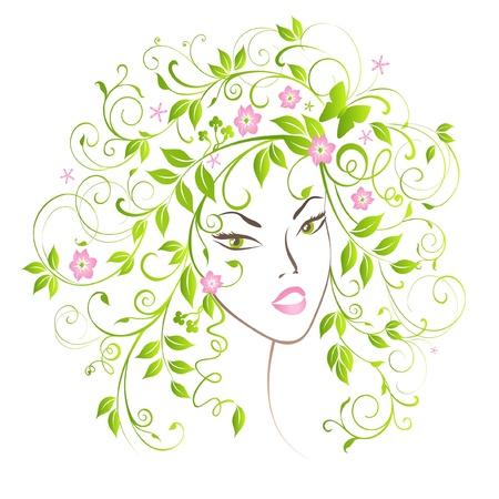 volute: Bella ragazza ritratto con i capelli di fiorire.