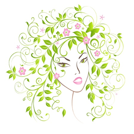 Portrait pretty girl with flourish hair. Vector