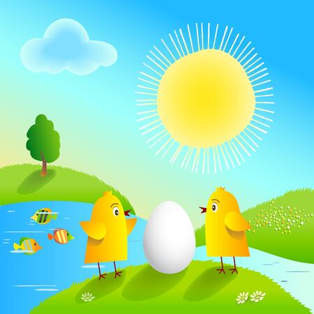Happy Easter with funny chickens and egg. Vector