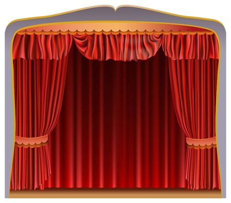 Red curtain isolated on white background. Vector