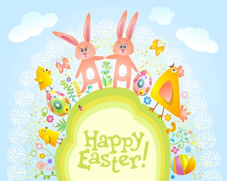 Happy Easter card. Stock Vector - 9168152