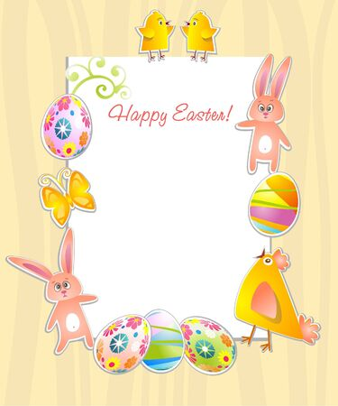 brown hare: Happy Easter frame with rabbit, chicken and white space for text.