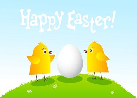 poult: Tarjeta de Pascua feliz con divertidos pollos y huevos.