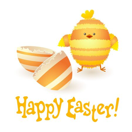Happy Easter card with funny stripped chicken and broken egg.