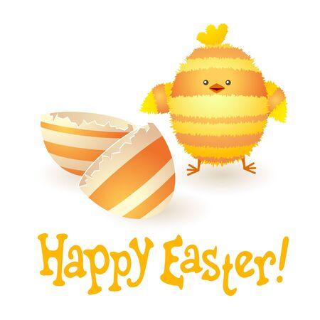 uovo rotto: Scheda di Pasqua felice con divertente spogliato di pollo e uovo rotto.