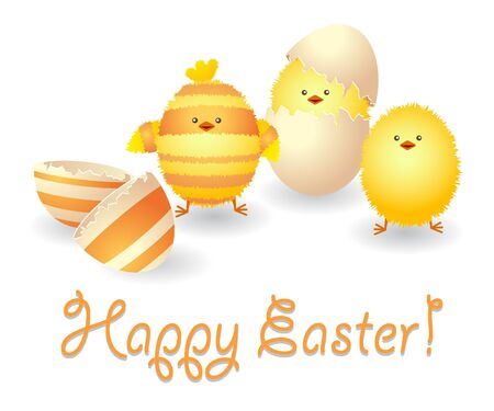 Happy Easter card with funny chickens and broken eggshell. Vector