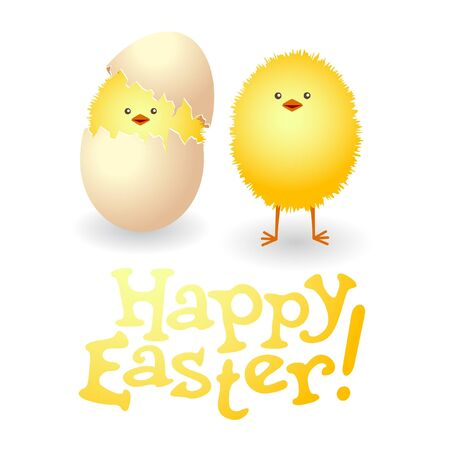 broken egg: Happy Easter card with funny chickens. Illustration