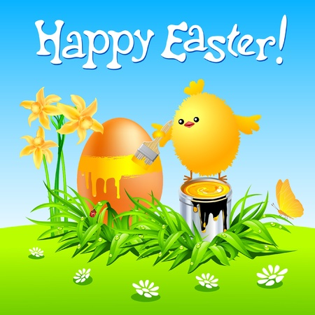 Happy Easter card with chicken painted egg on green grass. Vector