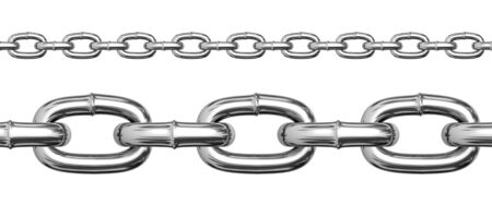 Seamless chains isolated on white background. photo