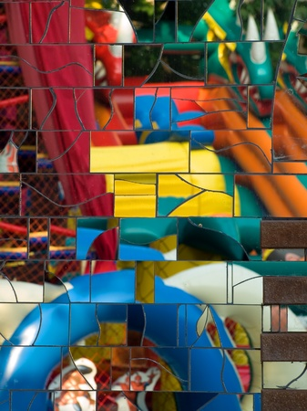 Abstract colorful mirror mosaic closeup background. photo