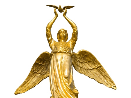 Golden angel with pigeon isolated on white background. photo
