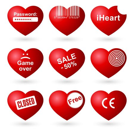 Hearts icons set isolated on white background. Vector