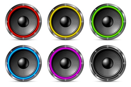 violet red: Variegated colorful speakers set isolated on white background.