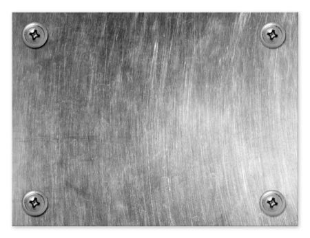 Metal plate with screws isolated on white background.