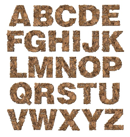 Rusty alphabet isolated on white background. photo