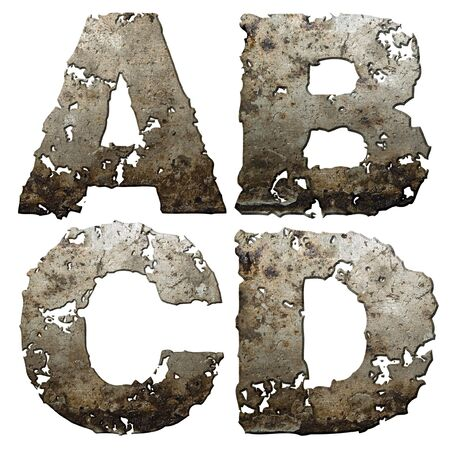 rusted: Iron letters with torn edge isolated on white background (series).