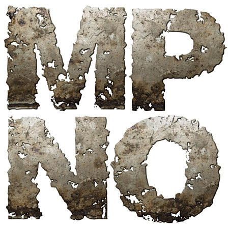 holed: Iron letters with torn edge isolated on white background (series).