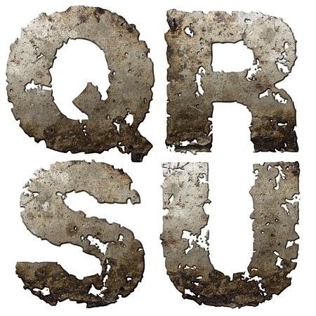 torn metal: Iron letters with torn edge isolated on white background (series).