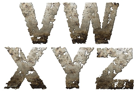Iron letters with torn edge isolated on white background (series).