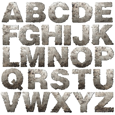 grungy: Iron letters with torn edge isolated on white background. Stock Photo