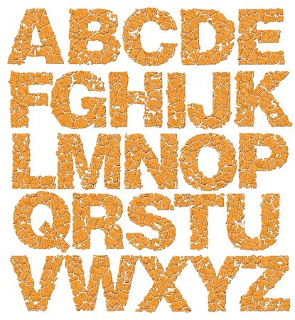 Dried alphabet isolated on white background. photo