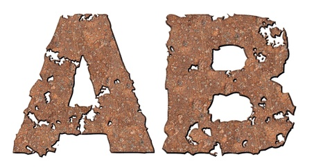 rusting: Rusty letters with torn edge isolated on white background (series).