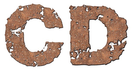 Rusty letters with torn edge isolated on white background (series). Stock Photo - 10348866