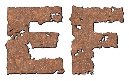 Rusty letters with torn edge isolated on white background (series). Stock Photo - 10348863