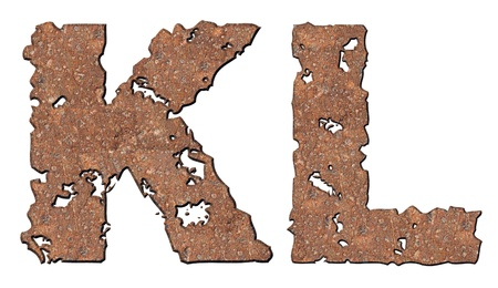 Rusty letters with torn edge isolated on white background (series). Stock Photo - 10348862