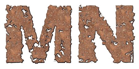Rusty letters with torn edge isolated on white background (series).